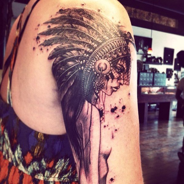 Stunning native american tattoo designs for Indian woman tattoo
