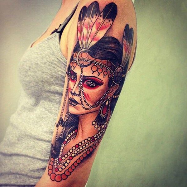 Stunning native american tattoo designs for Native american woman tattoo